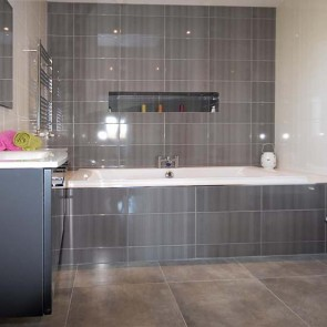 Glazed Grey Bathroom Wall Tiles 25x50, Matt Grey Floor Tiles 50x50
